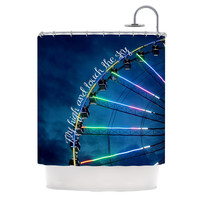 """Beth Engel """"Fly High And Touch The Sky"""" Navy Blue Shower Curtain"""