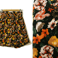 Vintage Corduroy Shorts~Size Small~Waist 26~60s 70s 80s High Waisted Floral Black Orange, Yellow, Purple, Green, White Shorts~By Bauhinia
