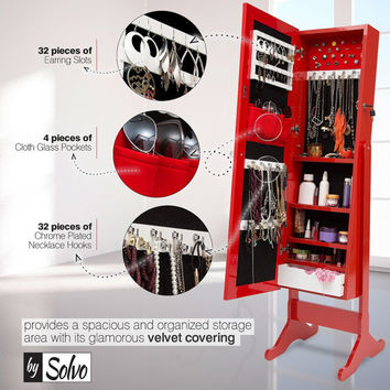 Bysolvo Jewelry Armoire with Mirror - 3 color option: White, Red, Walnut