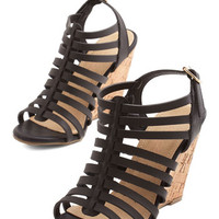 ModCloth Strappy Trails to You Wedge in Black