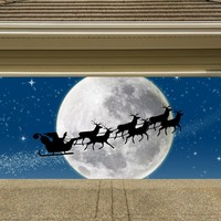 Christmas Garage Door Cover Banners 3d Santa In A Sleigh Holiday Outside Decorations Outdoor Decor for Garage Door G41