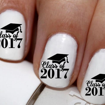 20 pc Class Of 2017 Graduation Nail Art Nail Decals Nail Stickers Lowest Price On Etsy #cg1419na2
