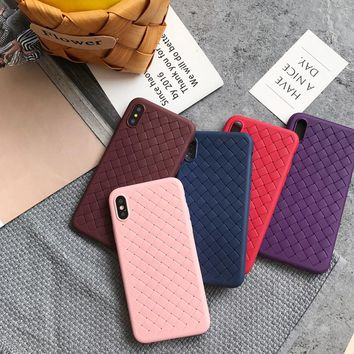 For iphone X 6 6s 6plus 7 7Plus 8 8Plus Ultra-thin Grid Weave pattern phone Cases For iphone 7 case back cover Protective shell