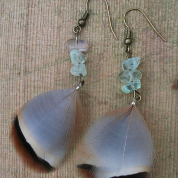 Fluorite chip beads green Crystal gemstone with patridge feather Earrings