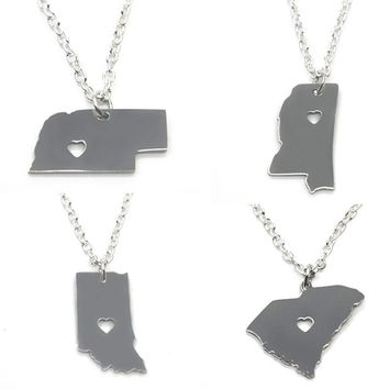 US State  necklace silver