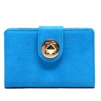 Small Basic Wallet with Diamond Lock Closure - Blue, Red, Gray or Pink