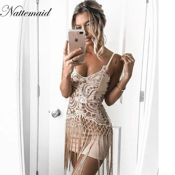 NATTEMAID Halter sequin straps dress Women sexy v neck mini dress Elegant fringe tassels bodycon dress party vestidos