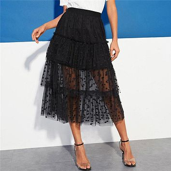 Black Casual Tiered Dot Mesh Overlay Frill Detail Midi Skirt Women Streetwear Out Going Mid Waist Long Skirts
