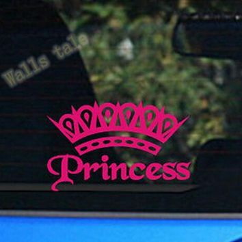 cute Hot Pink Princess Crown car Decal Sticker Elegant lady girls car stickers FREE SHIPPING s2013
