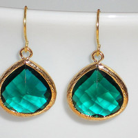 Gold dangle earrings framed glass earrings drop earrings elegant earrings crystal earrings mcutecharms gold and emerald earrings
