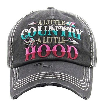 """Distressed """"A Little Country A Little Hood"""" Black Hat"""