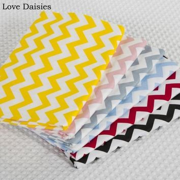 100% cotton twill chevron zigzag 1CM wide yellow pink grey red black blue fabric for DIY bedding apparel patchwork home decor