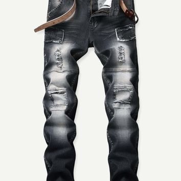 Men Patch & Ripped Detail Jeans