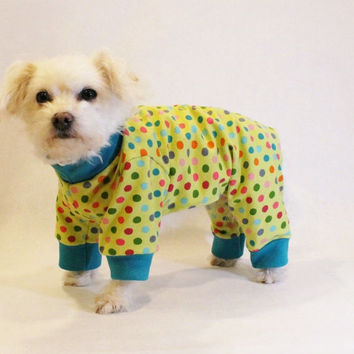 RockinDogs Lime Green Polka Dot Knit Dog Pajamas