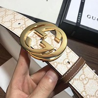 2018 Hot ! GUCCI Popular Unisex Casual Letter Smooth Buckle Belt Leather Belt