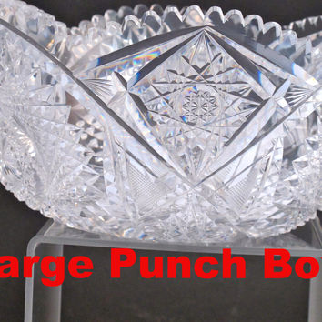 ABP cut glass punch bowl American brilliant period 1886 -1915, 13.75 lb