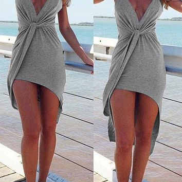 Gray Spaghetti Strap Ruched Asymmetric Dress