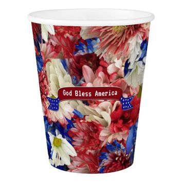 God Bless America Flora Paper Cup