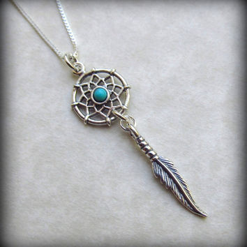 Dream Catcher Necklace in 925 Sterling Silver with Turquoise Bead on 18 Inch Sterling Silver Chain
