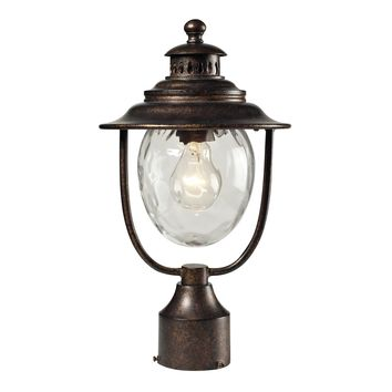 45032/1 Searsport 1 Light Outdoor Post Lamp In Regal Bronze And Water Glass - Free Shipping!