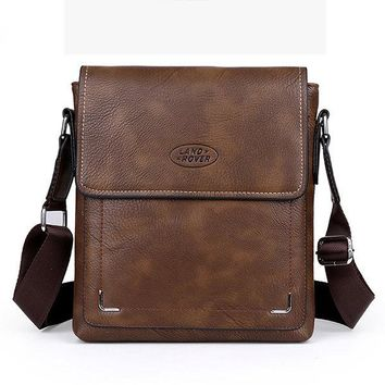 Vintage PU Leather Stitching Cover Business Cross Body Shoulder Bag For Men