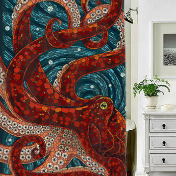mosaic octopus special custom shower curtains that will make your bathroom adorable