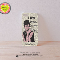 3D Audrey Hepburn I Love People iphone 4/4S case-3D Hepburn iPhone case 5/5S-3D Hepburn iPhone Galaxy S4 -Design by Natura Picta-NP3D018