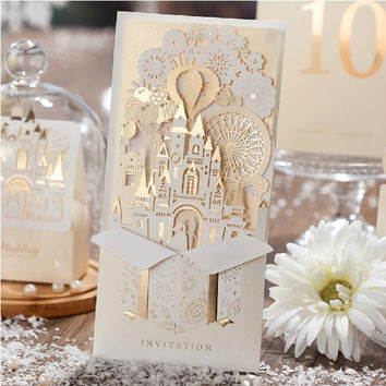 European Castle Laser Cut Invitation Cards for Wedding 30pc