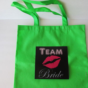 Team Bride green tote bag lips glow in the dark light up bachelorette gift for wedding party favors bridal shower neon colors bright light