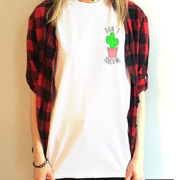 "Cactus ""Don't touch me"" illustration T Shirt Unisex White S M L XL Tumblr Instagram Blogger"