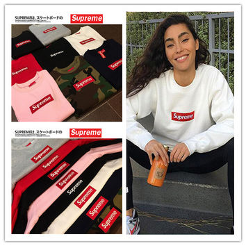 """Supreme"" Fashion Casual Male Female Large Size Solid Color Classic Embroidery Logo Round Neck Long Sleeve Student Couple Cotton Sweater"
