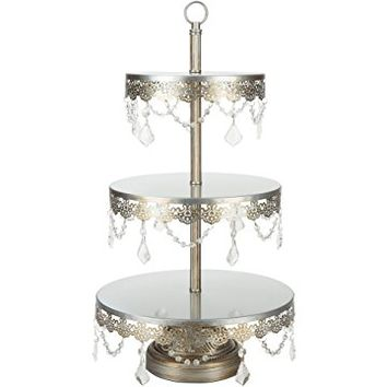 "Sophia Antique Silver 3-Tier Cupcake Stand, Dessert Cake Tower with Glass Crystals, 23"" Tall Metal Round Stacked Wedding Party Display"