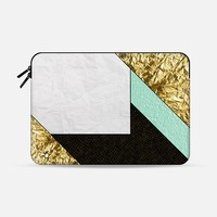 Gold Teal and White Crumpled Paper Macbook Pro 13