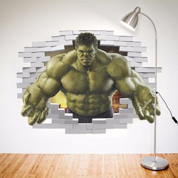 Fashion Home Decor 3D Wall Stickers The Avengers Hulk For Kids' Room Wall Decoration Bedroom Mural Art Pictures Removable Decals
