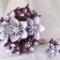 Paper flower bridal bouquet in eggplant lilac by thesundayflower