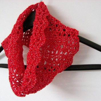 Sexy Red Cowl with Silver Sparkles Circle Scarf by myhobbyshop