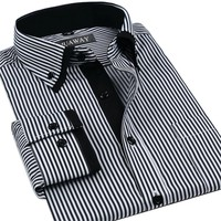 Men's Double Collar Striped Business Dress Shirt
