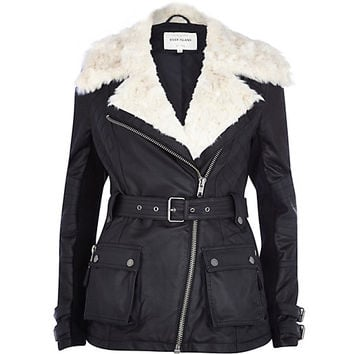 River Island Womens Black faux fur collar biker coat