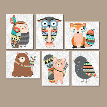 TRIBAL Nursery Wall Art, Canvas or Prints Woodland Wall Art, Wood Forest Animals, Bear Fox Squirrel OWL Bird, Boy Bedroom Set of 6 Decor