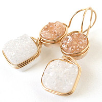 Peach and White Druzy Dangle Statement Earrings by WrennJewelry