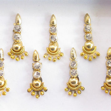 Gold Bollywood Bindis/ Indian India Bindis/Bindi Sticker/ Bindi Jewels/ Face Jewels/Fancy Bindis Online/Golden bindis/Body jewelry