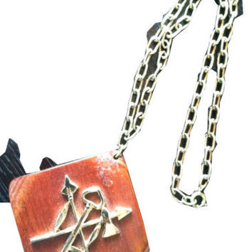 Whimsical Hunting Symbols Arrows Key Native War Fish Ax Wooden Chain Necklace
