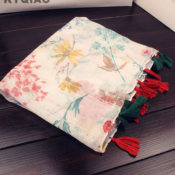 KYQIAO Bohemian head scarf women autumn winter Spain style boho ethnic long floral print tassels scarf muffler birthday gifts