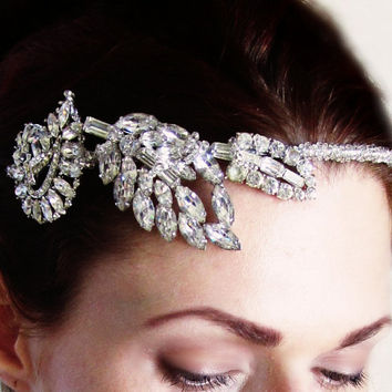 Vintage Art Deco Rhinestone Leaf Headband Headpiece - On Hold for Photo Shoot