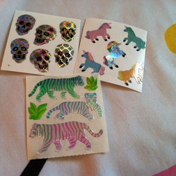 x3 personal favz lot holographic SKULLS pearlescent cheetahs iridescent rainbow unicorns
