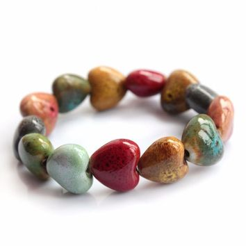 Heart Shaped vintage beads lady bracelet Bohemia Ceramic stone charm women Bangles