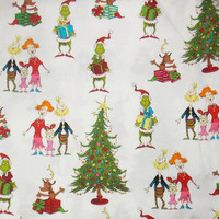 Grinch Fabric Christmas Fabric Holiday Fabric Cotton Fabric Whoville Fabric Quilting Fabric
