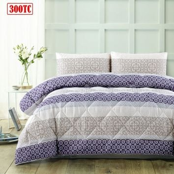 3 Piece 300TC Lena Plum Jacquard Comforter Set by Accessorize