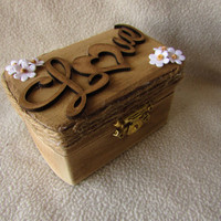 Boho Bohemiann Rustic Woodland Cottage CHic Wedding Ringbearer Box Burlap Flower