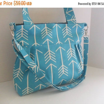 SALE Convertible Handbag in Arrow Turquoise  Fabric -Diaper Bag - Tote Bag - Messenger Bag - Nappy Bag - Arrow Bag - Crossbody